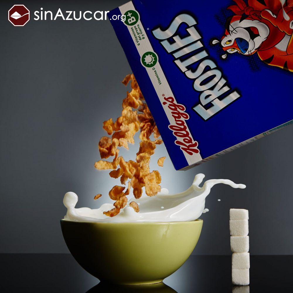 50gr de Frosties de Kellogg's contienen 18gr de azúcar lo que equivale a 4,6 terrones.