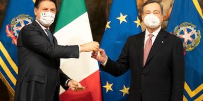 passaggio di consegne tra presidente Conte e presidente Draghi