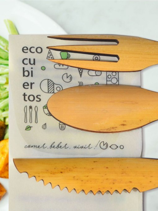 tenedor cuchillo cuchara de bambú