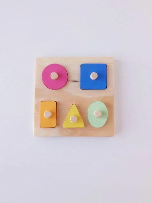 puzzle encastre geométrico de madera primera infancia