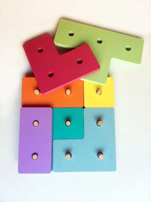 tetris de madera de colores para chicos