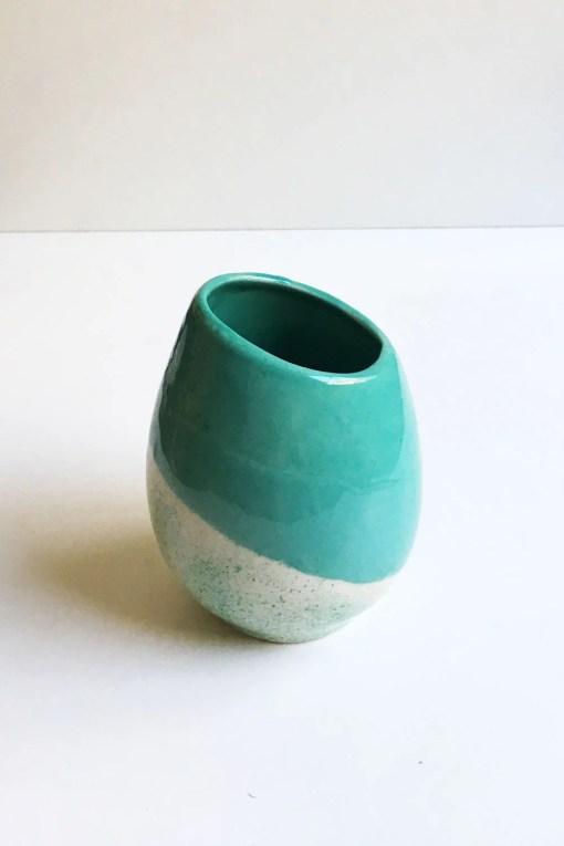 mate huevito de cerámica esmaltado color verde