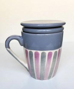 taza de cerámica para infusiones con tapa y colador