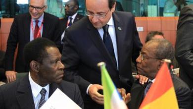Teodoro Obiang Nguema François Hollande et Alpha Condé