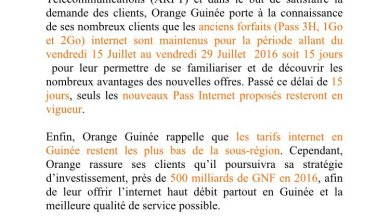 communiqué orange guinee