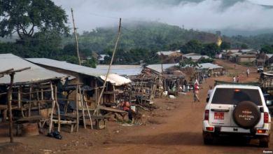 La brume enveloppe les montagnes de Simandou à Beyla, Guinée, 4 juin 2014.