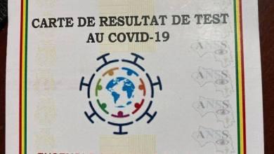 carte de résulta de test au covid-19