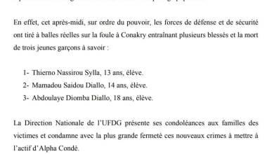 COMMUNIQUÉ DE LA DIRECTION NATIONALE DE L'UFDG