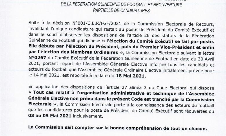 Assemblée générale élective de la FEGUIFOOT