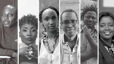 Les dramaturges Kouam Tawa, Gaëlle Bien-Aimé, Carole Karemera, Souleymane Bah, Michael Disanka et Assiimwe Deborah Kawe