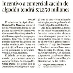 Incentivo a comercialización de algodón tendrá $3.250 millones