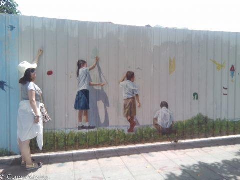 塀に塀を描いてみた