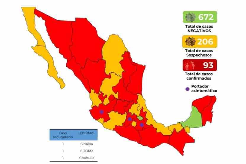 93casos mexico 17marzo - 93 casos confirmados de COVID-19 en México, 206 sospechosos