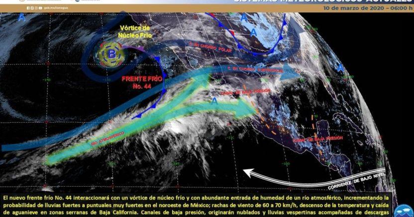 clima 10 03 crop1583844309632.jpg 673822677 - Pronóstico del clima de hoy: Lluvias y agua nieve se espera en México - #Noticias
