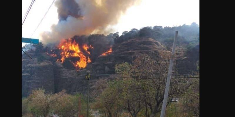 incendio tepoztlan - Incendio consume cerro en Tepoztlán