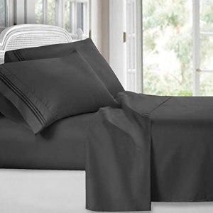 Clara Clark  Premier 1800 Collection Juego de sábanas, 4 piezas, tamaño California king, gris carbón