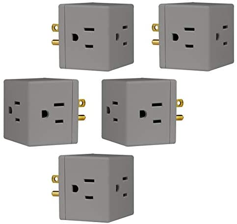 GE 3-Outlet Wall Tap, 5 Pack, Extra-Wide Adapter Spaced, Grounded, Easy Access Design, Indoor, Gray, 47038