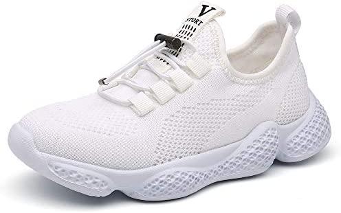 PAMRAY - Zapatillas Deportivas para niños y niñas, para Tenis, Correr, Atletismo, Caminar, Gimnasio, Correr, Blanco, 20 MX Niño pequeño