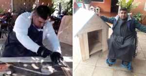 hombre en silla de ruedas hace casitas para perros - Paraguayo en silla de ruedas vende casas de perro para mantener a su familia. Su hijo de 7 lo ayuda