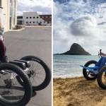 silla de ruedas especial para esposa - Hombre diseña una silla de ruedas todoterreno para que su esposa con parálisis viaje. Fue un éxito