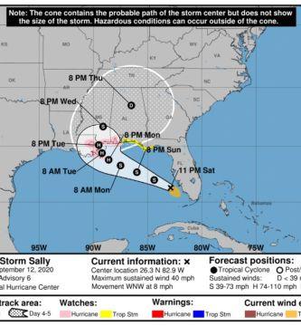 035423 5day cone no line and wind - Tormenta Sally se intensifica en el Golfo y avanza hacia Estados Unidos