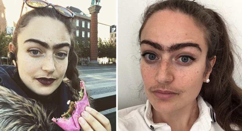 mujer cejas  - 17 fotos de la chica que hace un año dejó de depilarse las cejas y el bigote. Le encanta vivir así