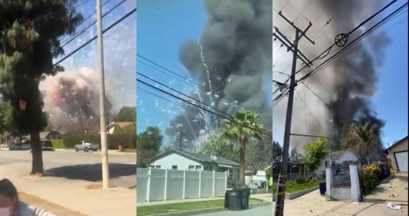 explosion de juegos pirotecnicos en ontario - VIDEOS: Así fue la explosión con fuegos pirotécnicos en Ontario. Agarró a muchos por sorpresa