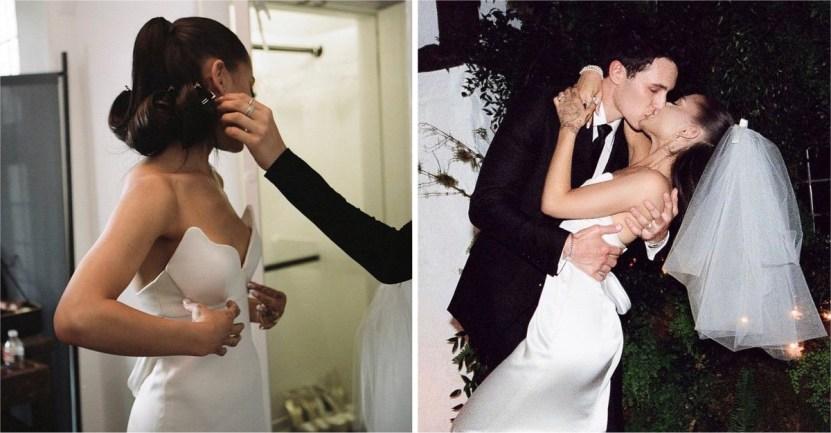 ariana 1 - Así fue la íntima boda de Ariana Grande y Dalton Gómez. Su vestido era sencillo, pero elegante