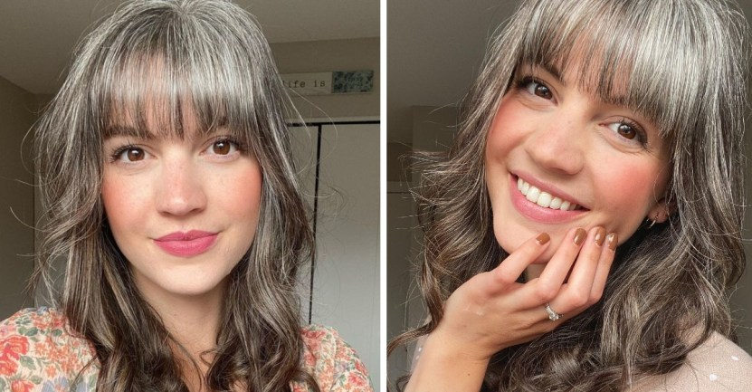 portada joven canas  - 26-year-old decides to give up her grey hairs after struggling with it. She got her first one at 12 years old