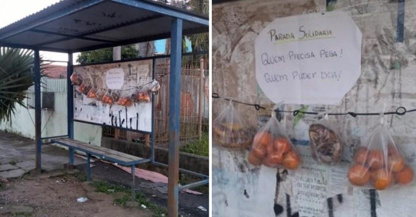 """portada vecinos dejan frutas pan necesitados parada solidaria buses - Vecinos dejan frutas y pan para necesitados en una """"parada solidaria"""" de buses. Combaten el hambre"""