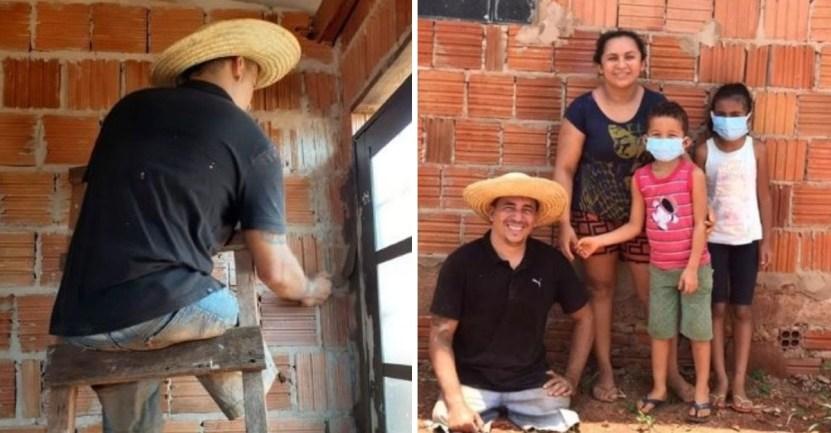 padre piernas familia casa - Hombre en silla de ruedas usa el resto de su cuerpo para construir su casa. La familia va primero