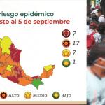 semaforo covid 20 ago - MAPA COVID | 17 estados se pintan de Naranja; Salud pone a 7 en Rojo y 7 en Amarillo