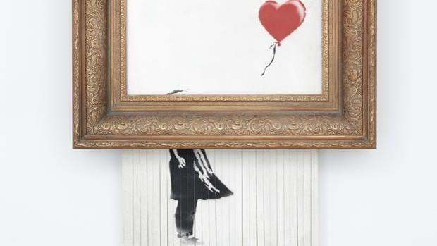 banksy - El cuadro de Banksy parcialmente autodestruido vuelve a ser subastado