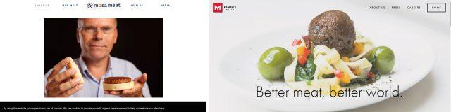 Mosa Meat社とMemphis Meat社のサイト