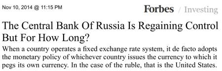 FED kontrolliert Russland Zentralbank