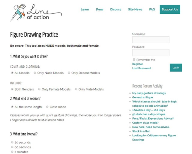 Line of Action gesture drawing pose webapp