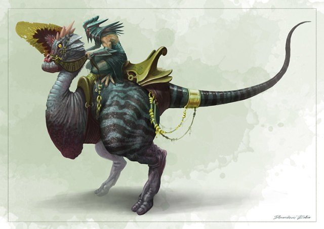 alien fantasy creature rider mount art concept