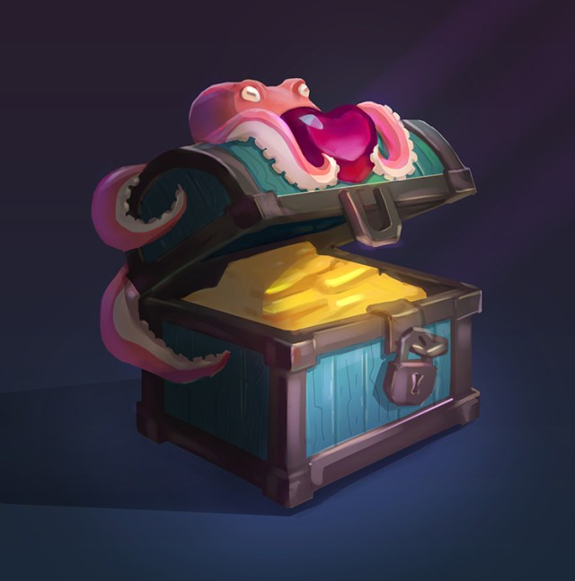 treasure chest octopus concept art sketch