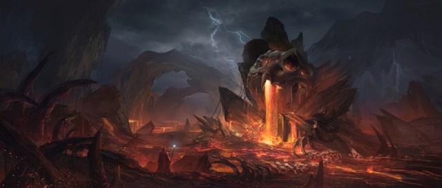 volcano lava sinister monastery concept art