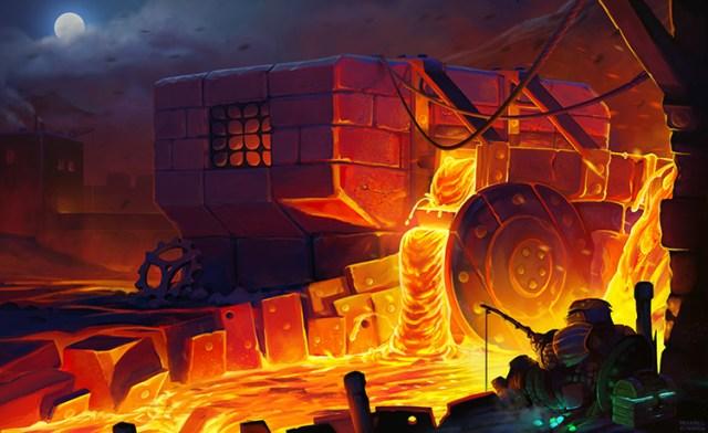lava fishing mill dwarf fantasy concept art