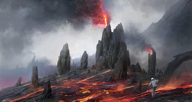 volcano planet sci-fi concept art illustration