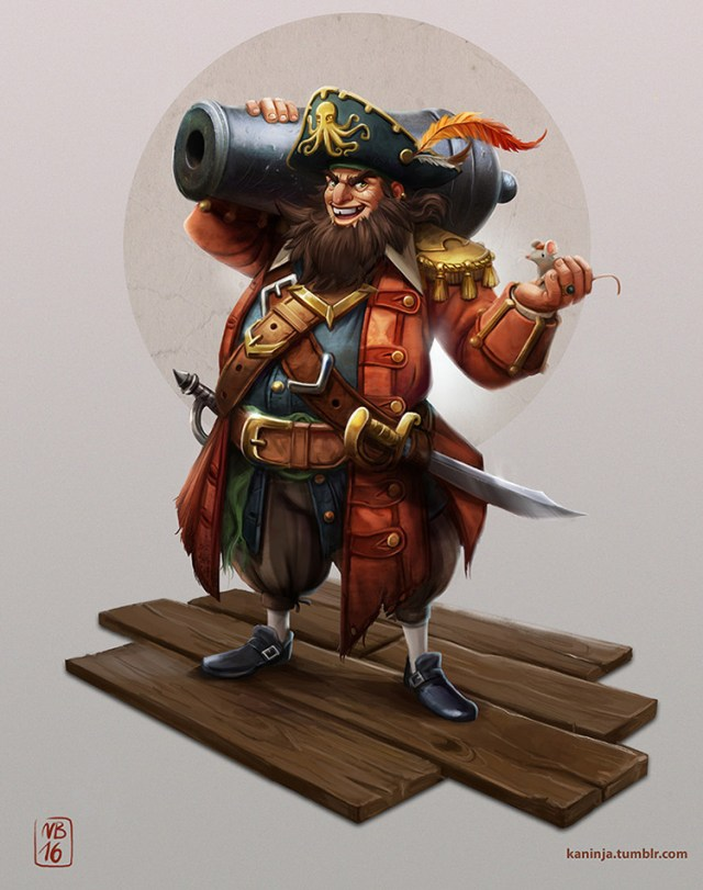 pirate character design cannon art concept