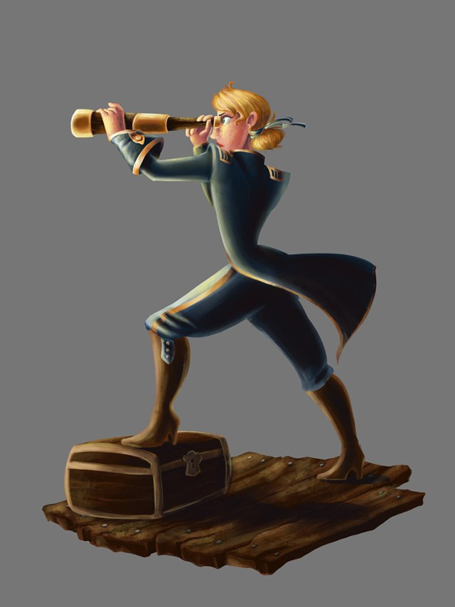 pirate filibuster female spyglass character art concept