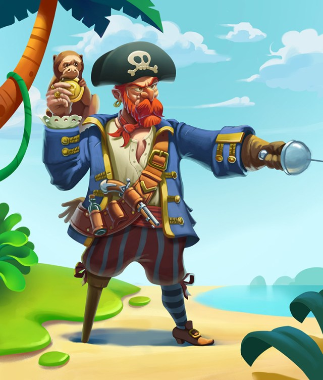 pirate character ginger amputee monkey art design