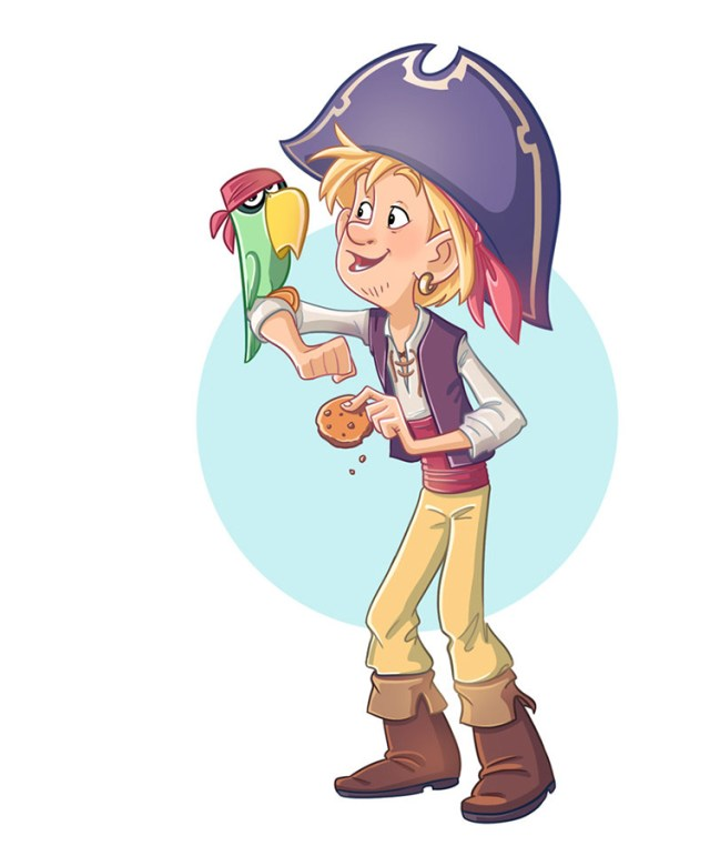 pirate character parrot biscuit art design