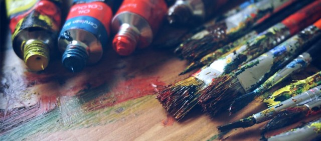 Acrylic paints & brushes