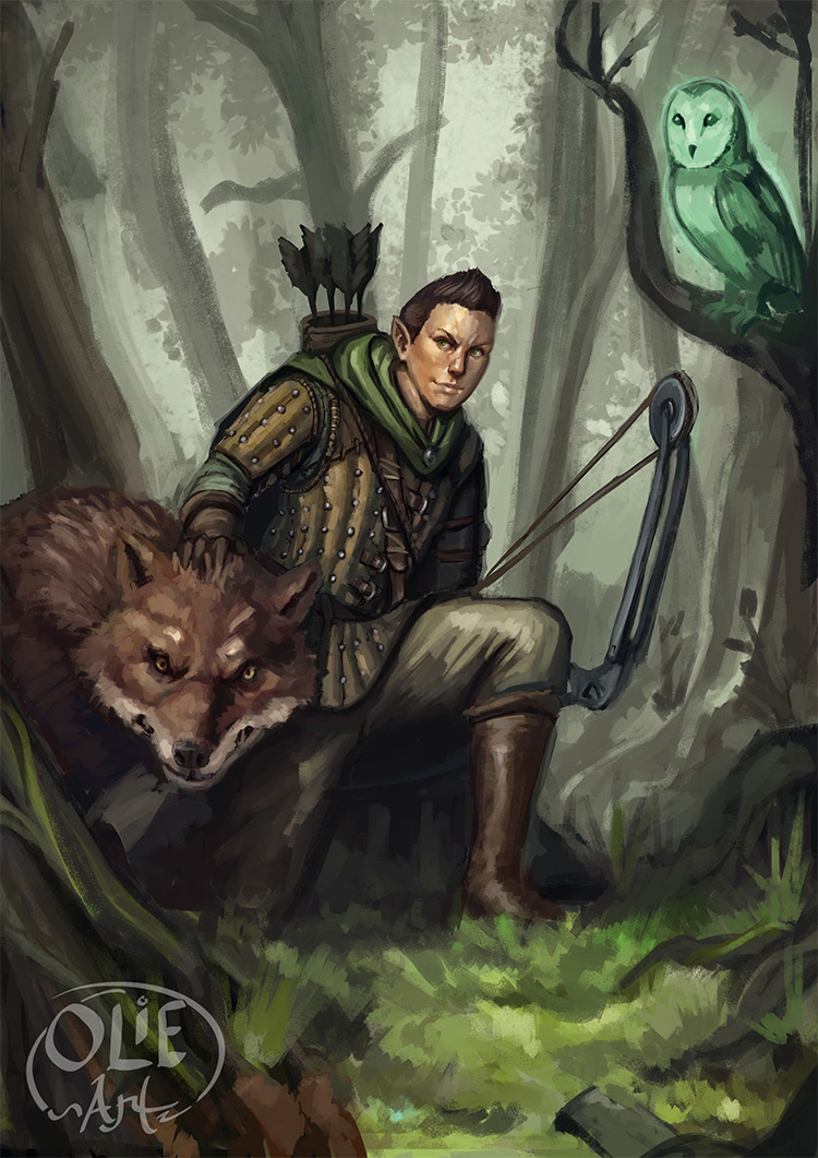 wooden elf ranger character art