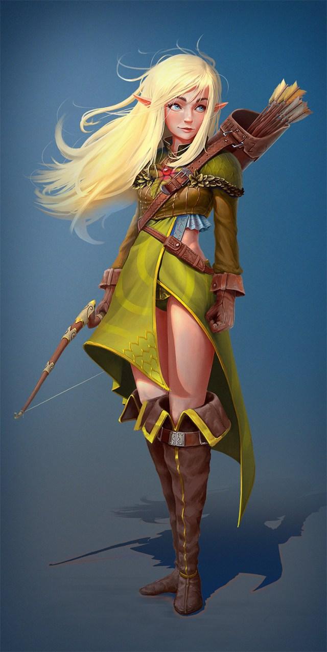 blonde elf archer character art