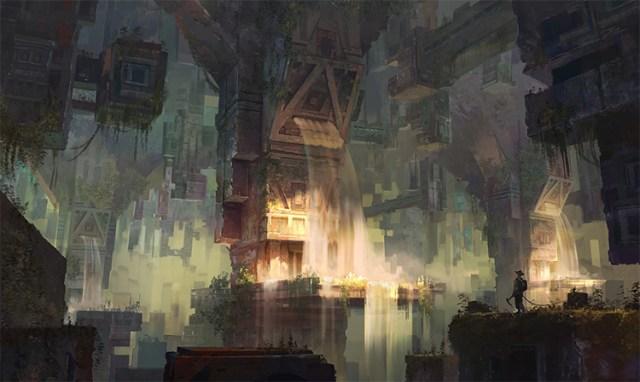Ancient underground civilization tower