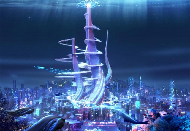 Underwater futuristic cityscape artwork